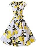 Dresstells Damen Vintage 50er Cap Sleeves Rockabilly Swing Kleider Retro Hepburn Stil Cocktailkleid Lemon XL