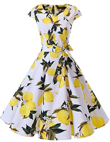 Dresstells Damen Vintage 50er Cap Sleeves Rockabilly Swing Kleider Retro Hepburn Stil Cocktailkleid Lemon S