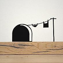 Wandtattoo, Wandsticker Mausloch mit Wäscheleine, schwarz 15x8cm