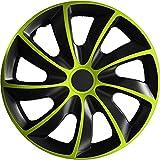 (verschiedene Größen) 15 Zoll Radkappe / Radzierblende 1 Stück Quad Bicolor (Schwarz-Grün) passend für fast alle Fahrzeugtypen – universal