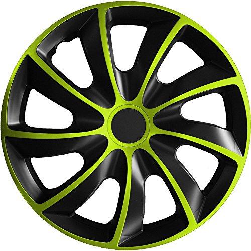 (verschiedene Größen) 15 Zoll Radkappe / Radzierblende 1 Stück Quad Bicolor (Schwarz-Grün) passend für fast alle Fahrzeugtypen - universal