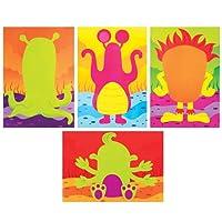 Baker Ross Alien Monsters Funny Face Sticker Scenes For Kids Perfect For Children