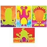 Bilder und Aufkleber Weltraum-Monstergesichter für Kinder als Bastel- und Deko-Idee für Jungen und Mädchen (8 Stück)