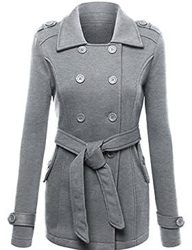 Escudo, abrigo,Internet Chaqueta de abrigo de mujer Abrigo grueso parka Sudadera con cinturón de bolsillo