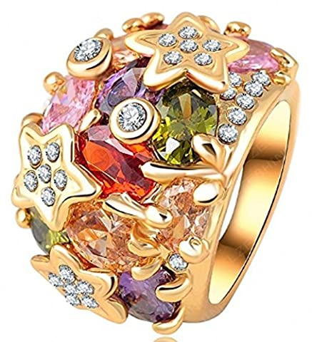 SaySure - Gold Plated Colorful Ring Genuine Austrian Crystal (SIZE : 6.5)
