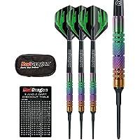 Red Dragon Voyager Rainbow Soft Tip 16g, 18g, 20g Dartpfeile- 90% Tungsten Darts Set (Steel Dartpfeile) mit Flights, Schäfte, Brieftasche, Checkout Card