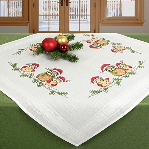 """KAMACA Stickpackung """" WEIHNACHTSEULEN """" - Süße Eulen mit Mütze - Stickdecke 80 cm x 80 cm - Kreuzstich vorgezeichnet - Stickgarn 100 % Baumwolle - qualitativ hochwertig - zum sofort Loslegen - Mitteldecke 80 cm x 80 cm - zum Selbersticken - aus dem KAMACA-SHOP - Weihnachten - Advent"""