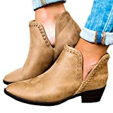 Damen Boots Stiefeletten Mode Frühling Herbst Blockabsatz Shoes Retro Booties Chelsea Stiefel Casual Schuhe 35-43