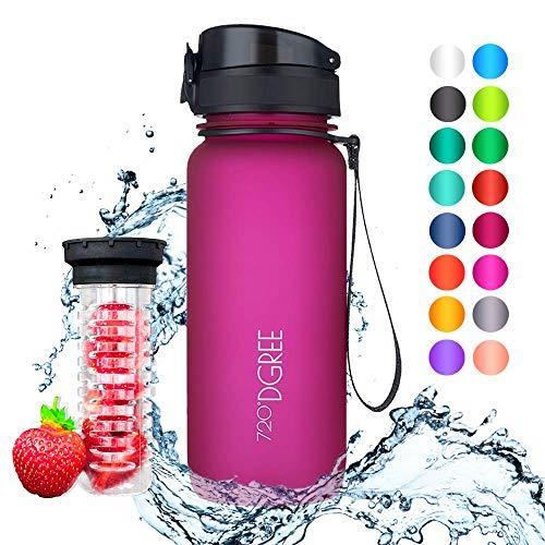 """720°DGREE Trinkflasche \""""uberBottle\"""" - 650 ml, 0,65 l, Pink - Neuartige Tritan Wasser-Flasche - Water Bottle BPA Frei - Ideale Sportflasche für Kinder, Fitness, Fahrrad, Sport, Fussball"""