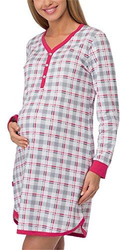 Cornette camicia da notte premaman 654/15 (grigio/amaranto, xxl)