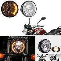 XuBa H4 Motorrad-Scheinwerfer, Blinker, Halogen-Frontlicht, für Harley BWM, Suzuki, Kawasaki