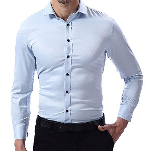 Camicia elastica da uomo, manica lunga, slim fit, camicia classica casual/formale per uomo, celeste, 40 (manica 98cm, petto 104cm)