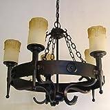 Deckenlampe Kronleuchter 5 Kerzen Leuchten runde Burg Hängelampe schmiedeeisen
