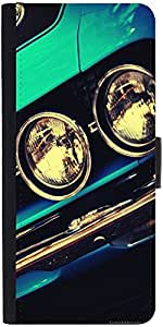 Snoogg Blue Vintage Muscle Cardesigner Protective Flip Case Cover For Samsung...