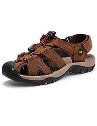 VILOCY Herren Sommer Leder Klett Sandalen Athletic Walking Beach Outdoor Schuhe