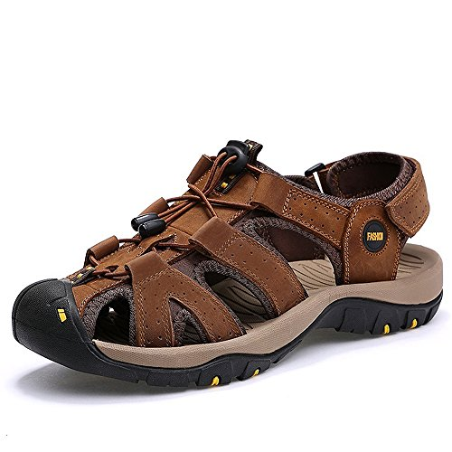 VILOCY Herren Sommer Leder Klett Sandalen Athletic Walking Beach Outdoor Schuhe Braun 42EUR