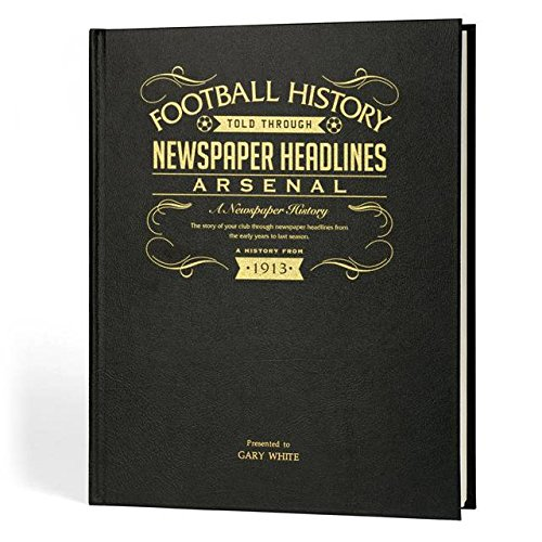 Signature Gifts Arsenal Football Newspaper Book - Leather Black Cover