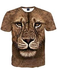 2fb3ba62cc6 YYTTO Camisas De Hombre Manga Corta Cuello Redondo 3D Impresión Digital  Linda Gato León Cerdo águila