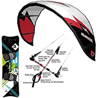F2 LEICHTWIND KITE SET SILBERPFEIL ~ 17 QM + BAR + LIGHTWIND KITEBOARD 161 CM