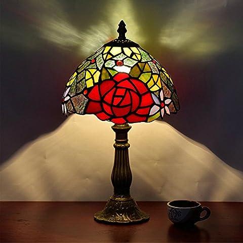Frideko Vintage Tiffany Diameter 20CM Lampshade Bedside Table Lamp for Bedroom Bar Cafe Restaurant (Type