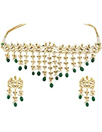 Mehrunnisa Traditional High Quality Kundan & Green Stones Choker Necklace Set For Women (JWL1570)
