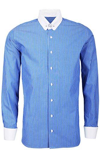 Schaeffer Hemd Slim Fit Streifen blau Piccadilly / Pin Collar weiß, Größe: L Collar Pin Shirt