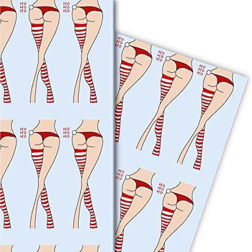 henkpapier Set (4 Bogen) | Dekorpapier mit Weihnachts Strümpfen