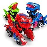 Transforming Dinosaur Led Auto, Dinosaurier Transformer Auto Spielzeugauto verwandelt sich in Dinosaurier mit LED-Licht und Musik, Transformator Spielzeug für 3-12 Jahre alten Jungen Mädchen (Rot)
