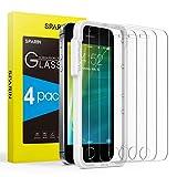 SPARIN [4 Stück Panzerglasfolie kompatibel mit iPhone SE, iPhone 5, iPhone 5s & iPhone 5c Schutzfolie Bildschirmschutzfolie mit [Blasenfrei] [9H Härte] [Kristallklare] [Ultra-klar]