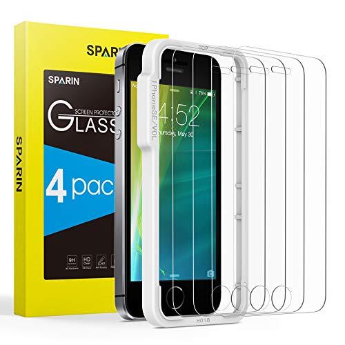 Sparin [4-pezzi compatibile con pellicola vetro temperato iphone se / 5s / 5c / 5 [strumento per una facile installazione], [alta trasparente] [nessuna bolla] [anti-impronte]