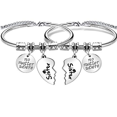 Imagen de pulsera con colgante de corazón para mujer, regalo para hermana, con texto en inglés