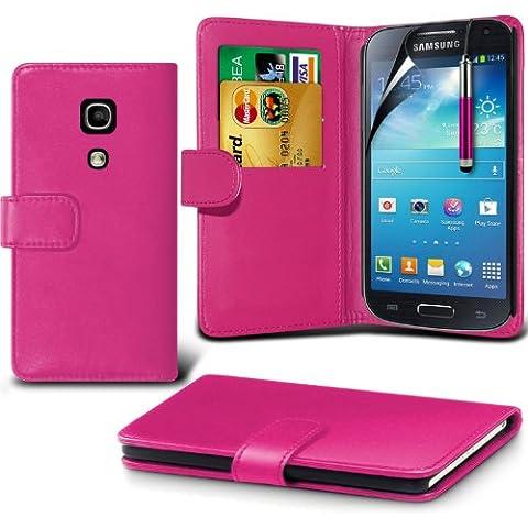 (Hot Pink) Samsung Galaxy S4 Mini i9190 personalizzata Progettato accessori moda tra cui scegliere Carta di protezione Faux di Credito / Debito cuoio di stile del libro cassa del raccoglitore della copertura della pelle, schermo di tocco penna stilo a scomparsa e schermo LCD proteggi By Spyrox