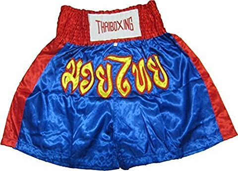 Muay Thai Kick Boxing Shorts Trunks Pants Blue with Red Trim Color Size L,xl Satin 100% by N/A