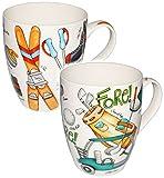 Unbekannt 1 Stück _ XL Henkeltasse / Kaffeetasse - Jumbo -  Wintersport - Ski & Schlittschuhe & Curling  - groß - 500 ml - Porzellan / Keramik - Trinktasse mit Henkel..
