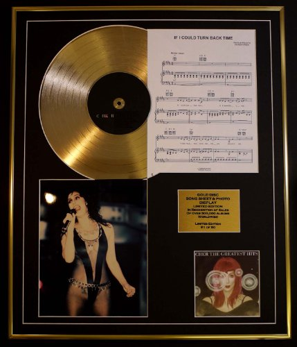 CHER/CD GOLD DISC UND PHOTO UND SONG SHEET DISPLAY/LIMITIERTE AUFLAGE/COA/ALBUM, GREATEST HITS /SONG SHEET, IF I COULD TURN BACK TIME