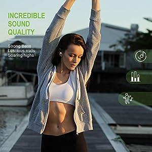 Yoleo Écouteurs Sans Fil Bluetooth 5.0 X187 Sport Avec Basses Profondes HiFi 3D Son Stéréo Microphone Intégré Écouteurs Bluetooth avec Chargement Portable Coque de YOLEO