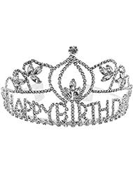 Feliz Cumpleaños De La Princesa Corona De Diamantes De Imitación De Cristal Cabeza De Plata Decoración Diadema