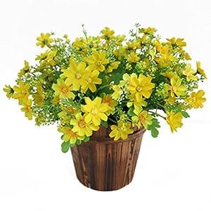 1 ramo Sunlight House con 28 flores artificiales de margarita. Maceta de decoración para colgar en interior, exterior, bodas, jardines, cementerios, tela, Blanco, Medium