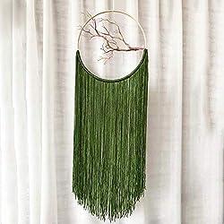 Tapices Macrame Atrapasueños Tejido A Mano teñido de verde
