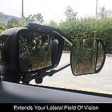RAISSER® Adjustable Trailer Towing Dual Mirror Clip-on Trailer Wing Mirror Extension Towing Mirror Glass for Car Caravan Trailer