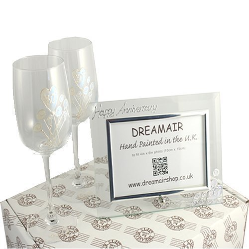 30th Pearl aniversario de boda copas de vino y juego de marco de fotos