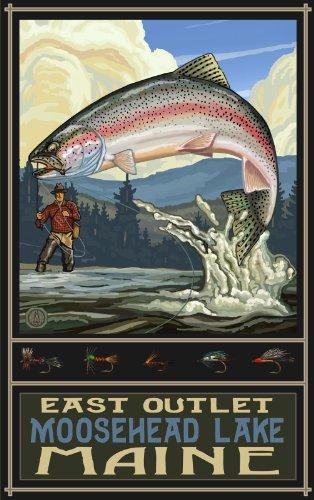 Northwest Art Mall Kunstdruck, Regenbogenforellenfischer East Outlet Moosehead Lake Maine, 28 x 43 cm