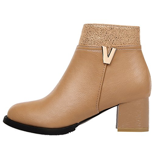 HooH Femmes Bottines Matte Up Métal V Kitten Heel Bottes Chelsea Marron