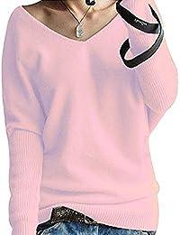 Shallgood Damen Mode Kaschmir Sexy Langen Ärmel V Ausschnitt Fledermaus  Flügel Herbst Und Winter Pullover… 384945ecfc