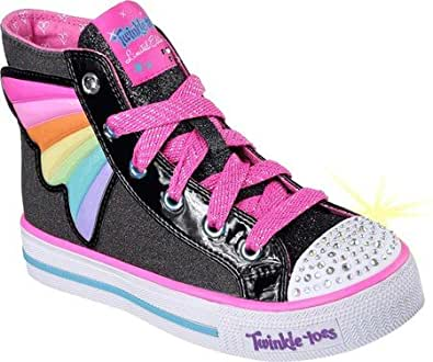 9f4301fd695be Skechers Girls' Twinkle Toes Shuffles Wander Wings High Top,Black/Multi,US