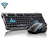 UrChoiceLtd®Delog V60 USB Wireless Multimediale Tastiera Da Gioco Ergonomico + 2.4GHz 1000 / 1600DPI 6 Pulsante USB Kit Wireless Gaming Mouse