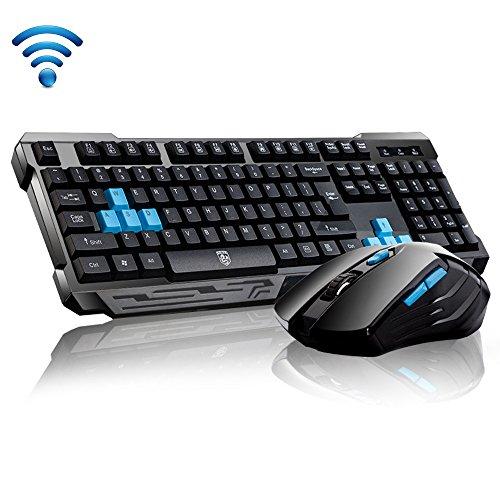 UrChoiceLtd® Delog V60 Multimedia Ergonomische usb Kabellos Spiel tastatur + 2,4 GHz 1000