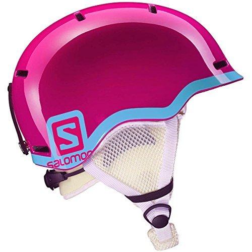 Salomon L37773500 Casco Bambino Unisex All Mountain per Sci e Snowboard, Calotta In-Mold + EPS, Circonferenza 53-56 cm, Bianco Glossy/Rosa, Taglia M