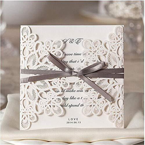 Hochzeitseinladungen Kits Weißer Laser Geschnitten Hohlen Spitzen Blumen Flora Horizontal Geprägten Spitze Florale Design Hülle Und Dichtung Party Gefälligkeiten Liefert 10 Stück (Elfenbein),100