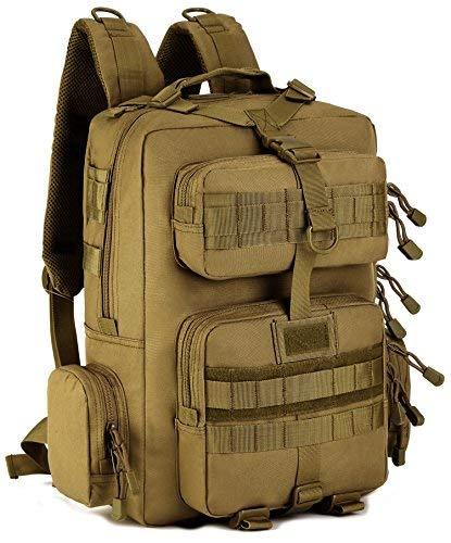 Interestmaker tattico militare zaino da assalto large laptop impermeabile zaino da campeggio zaino da escursionismo, nero, brown